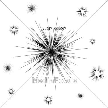 Vector Cartoon Explosion, Star Burst, Explode Flash Isolated On White Background Stock Photo