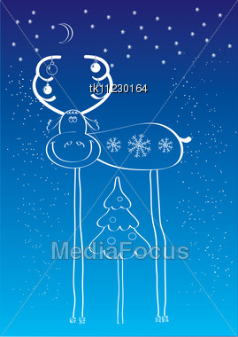 Christmas Deer.New Year Postcard Background Stock Photo