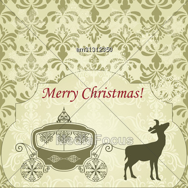 Christmas Greeting Card With Deer And Vintage Carriage, Seamless Patterns Included In Swatch Menu, Fully Editable Eps 8 File Stock Photo