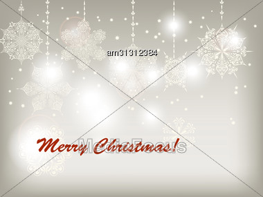 Christmas Greeting Card With Hanging Snowflakes, Fully Editable Eps 10 File, Snowflakes Can Be Used Separately, Mesh And Transparency Effects Stock Photo