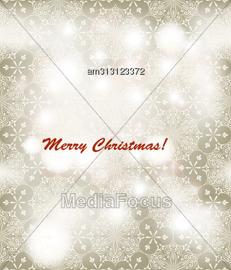 Christmas Greeting Card, Seamless Winter Pattern With Snowflakes, Fully Editable Eps 10 File With Clipping Masks And Seamless Patterns In Swatch Menu, Transparency Effects Stock Photo