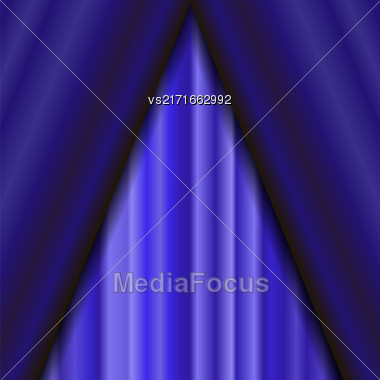 Vector Cinema Closed Blue Curtain. Blue Textile Pattern. Cinema Stage Stock Photo