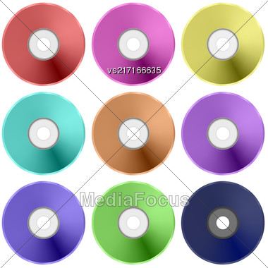 Vector Colorful Realistic Compact Disc Collection Isolated On White Background Stock Photo