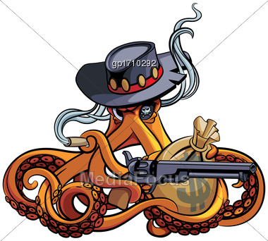 Vector Colourful Illustration Of Octopus In The Broad-brim With Handgun And Bag With Money In His Tentacles, Isolated On White Background. File Doesn't Contains Gradients, Blends, Transparency And Str Stock Photo