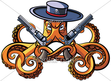 Vector Colourful Illustration Of Octopus In The Broad-brim With Two Handguns In His Tentacles, Isolated On White Background. File Doesn't Contains Gradients, Blends, Transparency And Strokes Or Other  Stock Photo