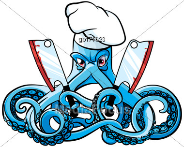 Vector Colourful Illustration Of Octopus In The Chef's Hat With Two Cleavers In His Tentacles, Isolated On White Background. File Doesn't Contains Gradients, Blends, Transparency And Strokes Or Other  Stock Photo