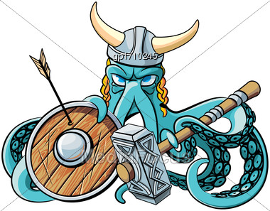 Vector Colourful Illustration Of Octopus In The Horned Viking Helmet With Battle Hammer And Wooden Shield In His Tentacles, Isolated On White Background. File Doesn't Contains Gradients, Blends, Trans Stock Photo