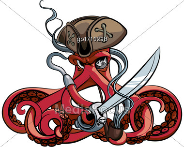 Vector Colourful Illustration Of One-eyed Octopus In The Tricorn With Saber And Tobacco Pipe In His Tentacles, Isolated On White Background. File Doesn't Contains Gradients, Blends, Transparency And S Stock Photo