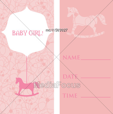 vector cute greetings cards set baby girl arrival stock image