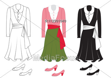 Free Dress Patterns  Women on Vector Dress On White Fashion Clothes For Woman Stock Photo