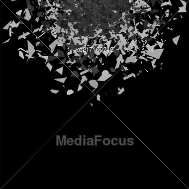 Vector Explosion Cloud Of Grey Pieces On Black Background. Sharp Particles Randomly Fly In The Air Stock Photo
