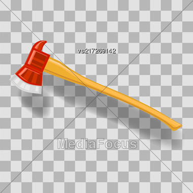 Vector Firefighter Axe Icon On Grey Checkered Background Stock Photo
