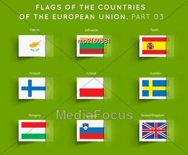 Vector Flags Of EU Countries On A Geen Background. Part 03 Stock Photo