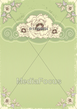Floral Decoration .Flowers Background For Text With Grunge Elements Stock Photo