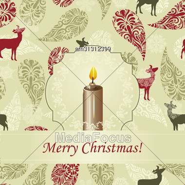 Greeting Card With Burning Candle On Background With Deers And Snowflakes Stock Photo