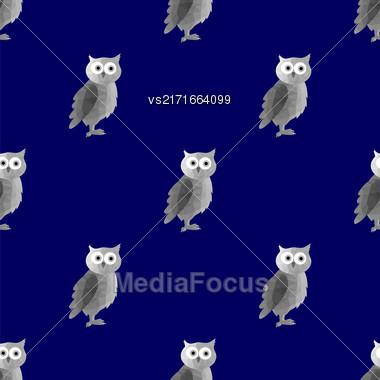 Vector Grey Polygonal Owl Seamless Pattern On Blue Background. Symbol Of Wisdom Stock Photo