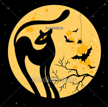 Vector Halloween Illustration With Black Cat Silhouette Stock Photo