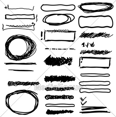 Vector Hand Drawn Frames, Lines, Circle And Bubble Collection Stock Photo