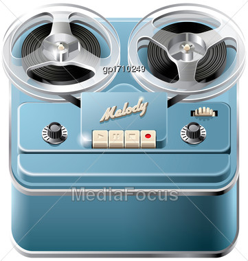 Vector Icon Of Vintage Reel-to-reel Audio Tape Recorder, Isolated On White Background. File Contains Gradients, Blends And Transparency. No Strokes Stock Photo