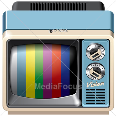 Vector Icon Of Vintage Television Receiver, Isolated On White Background. File Contains Gradients, Blends And Transparency. No Strokes Stock Photo