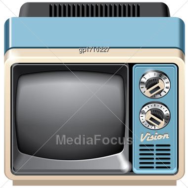 Vector Icon Of Vintage Television Set, Isolated On White Background. File Contains Gradients, Blends And Transparency. No Strokes Stock Photo