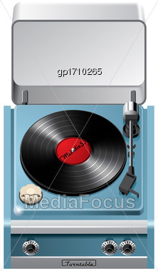 Vector Icon Of Vintage Turntable With Open Lid, Isolated On White Background. File Contains Gradients, Blends And Transparency. No Strokes Stock Photo