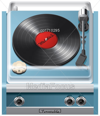 Vector Icon Of Vintage Turntable, Isolated On White Background. File Contains Gradients, Blends And Transparency. No Strokes Stock Photo