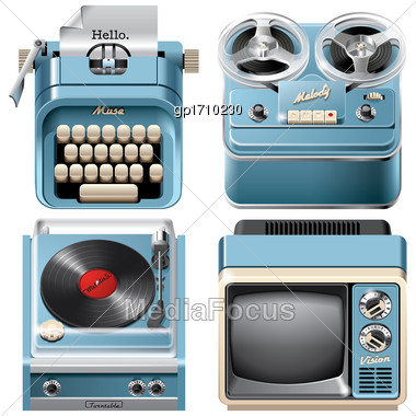 Vector Icons Of Vintage Devices: Reel-to-reel Audio Tape Recorder, Mechanical Desktop Typewriter, Television Receiver And Turntable, Isolated On White Background. File Contains Gradients, Blends And T Stock Photo
