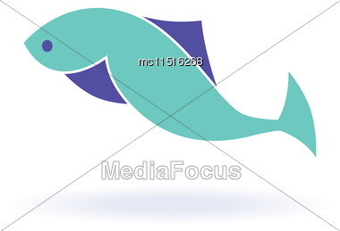 Vector Illustration Of Abstract Blue Fish. Abstract Fish Logo For Seafood Restaurant Or Fish Shop Stock Photo