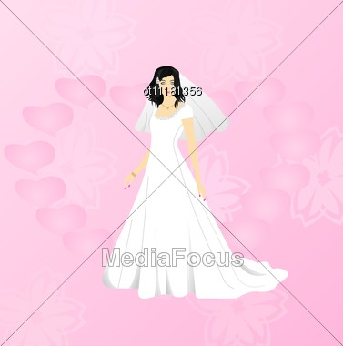 Beauty Bride On Pink Background Stock Photo