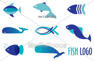Vector Illustration Of Blue Colors Fishes. Abstract Fish Logo Set For Seafood Restaurant Or Fish Shop Stock Photo