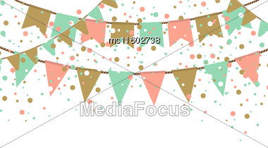 Vector Illustration Of Blue Sky With Colorful Flags Garlands. Holiday Background With Place For Text Stock Photo