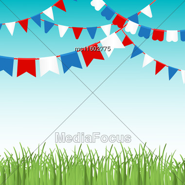 Vector Illustration Of Blue Sky And Green Grass Landskape With Colorful Flags Garlands. Red, Blue And White Flags. Holiday Background With Place For Text Stock Photo