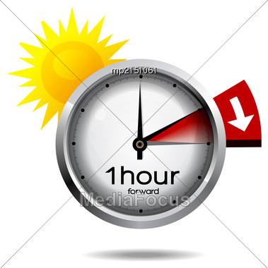 Vector Illustration Of A Clock Switch To Summer Time Daylight Saving Time Begins Stock Photo