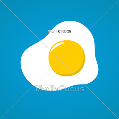 Vector Illustration With Fried Egg In Flat Style Design. Fried Egg On Blue Background Stock Photo