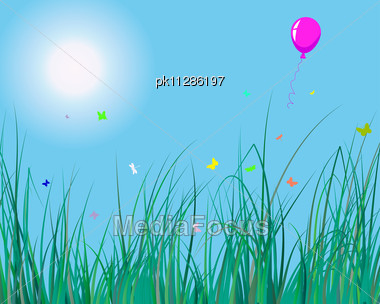 Grass Background With Balloon For Design Usage Stock Photo