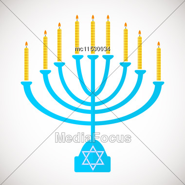 Vector Illustration Of Hanukkah, Jewish Holiday. Hanukkah Menora With Candles Stock Photo