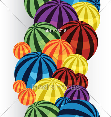 Many Colorful Balls Vertical Seamless Border Stock Photo