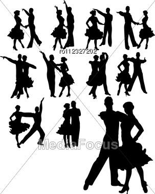 Couple Dancing Set Stock Photo