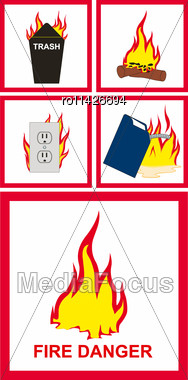 Vector Illustration Of Fire Danger Sign Stock Photo
