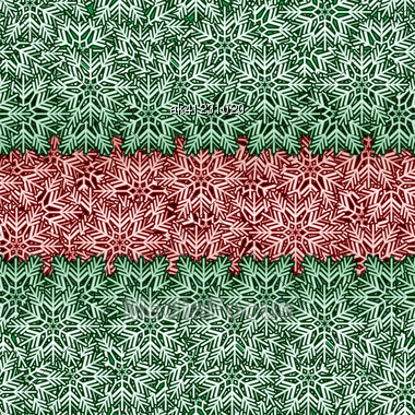 Red And Green Snowflake Banner Seamless Background Stock Photo