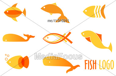 Vector Illustration Of Warm Colors Golden Fishes. Abstract Fish Logos Set For Seafood Restaurant Or Fish Shop Stock Photo