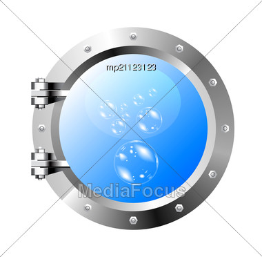 Image Of The Ship's Porthole On A White Wall Stock Photo