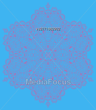 Vector Mandala Isolated On Blue Background. Round Ornament Stock Photo