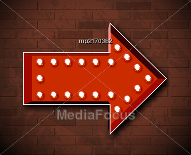 Vector Marquee Arrow Symbol With Glowing Light Bulbs On Brick Wall Background Stock Photo