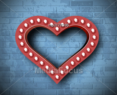 Vector Marquee Heart Symbol On Brick Wall Background. Background For Congratulations On Valentine's Day Stock Photo