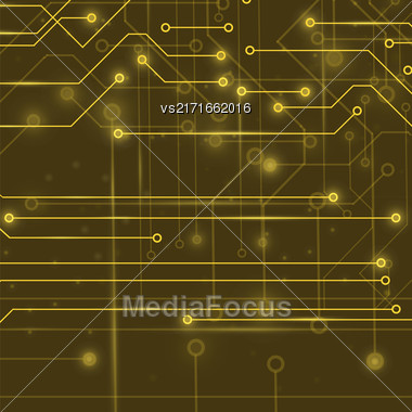 Vector Modern Computer Technology Background. Circuit Board Pattern. High Tech Printed Circuit Board Stock Photo