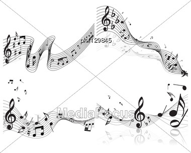 Musical Notes Staff Backgrounds Set Stock Photo