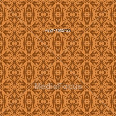 Vector Orange Ornamental Seamless Line Pattern. Endless Texture. Oriental Geometric Ornament Stock Photo