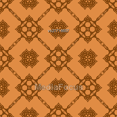 Vector Orange Ornamental Seamless Line Pattern. Endless Texture. Oriental Geometric Ornament Stock Photo